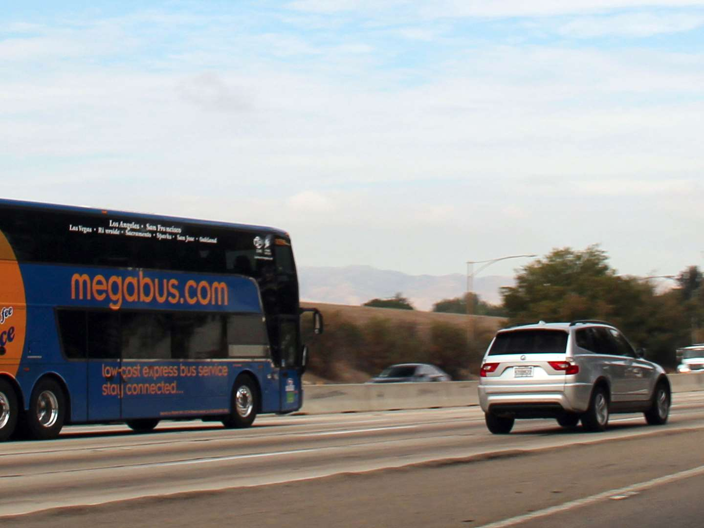 megabus traveling on the highway