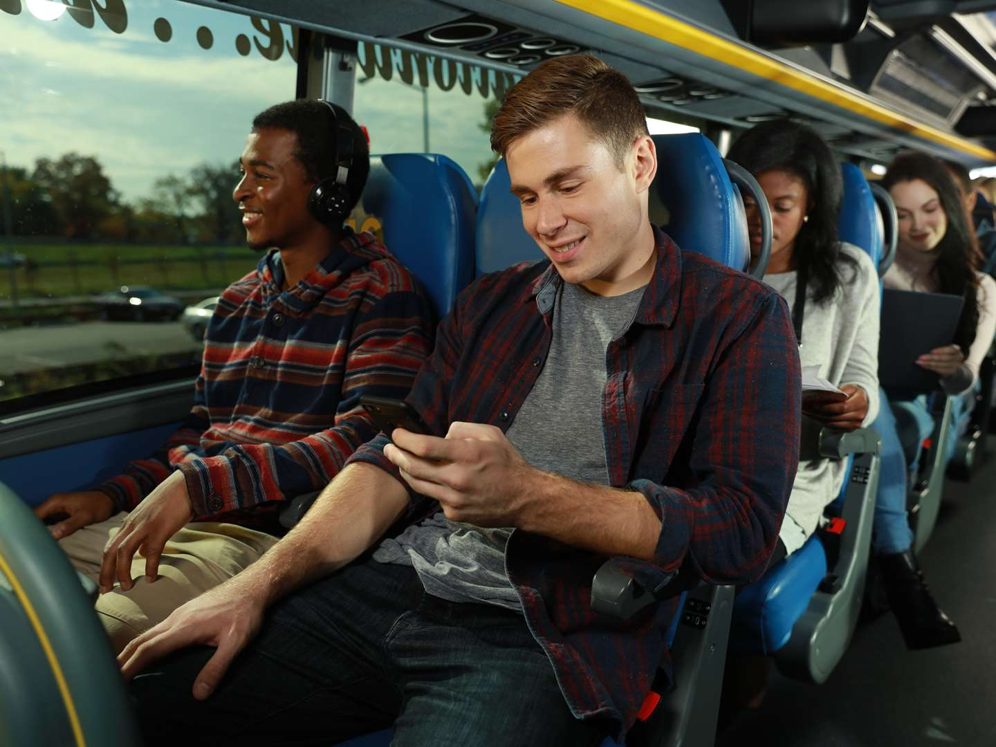 Customers in reserved seating on a megabus