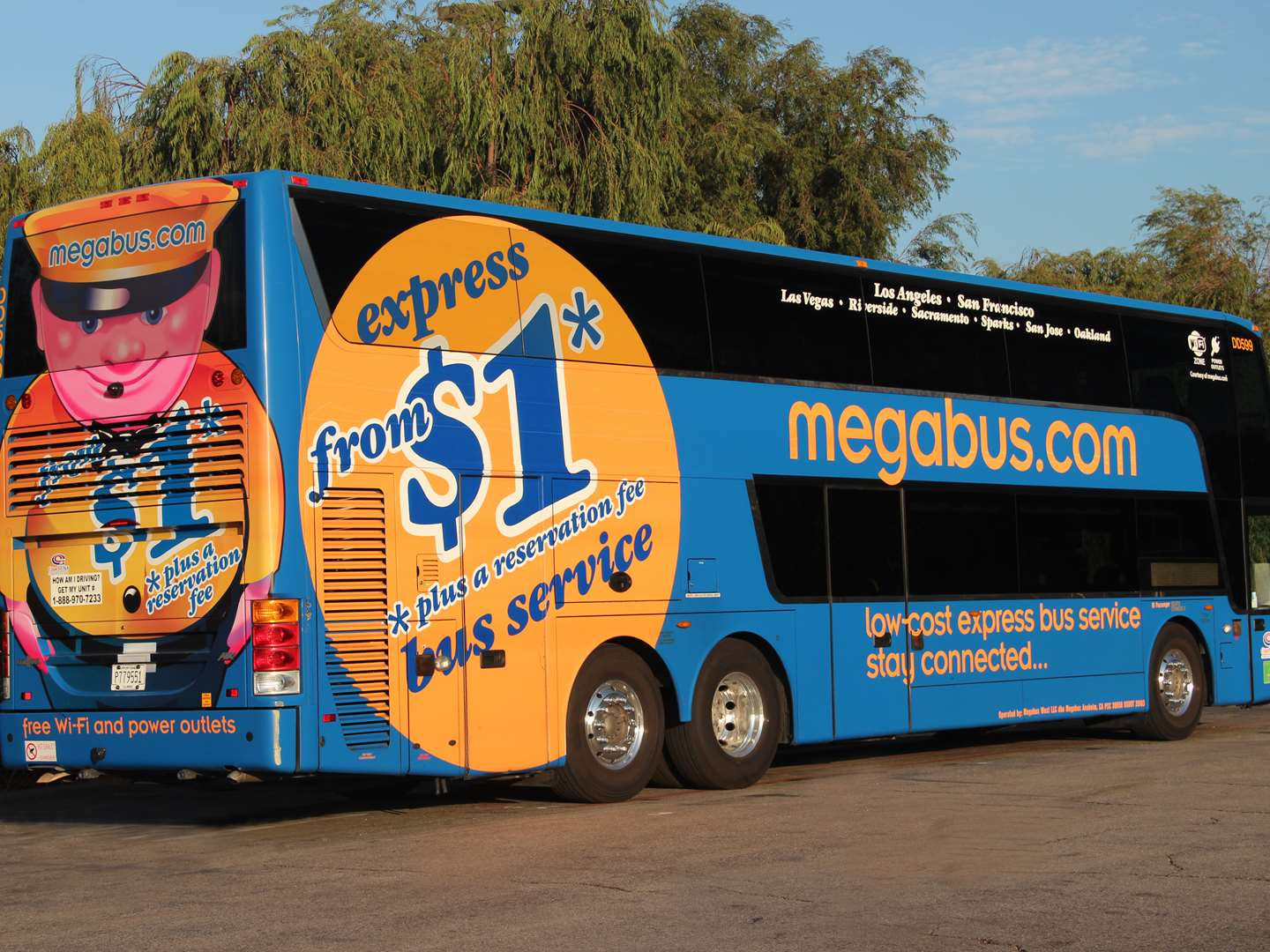 Right side view of a megabus in California